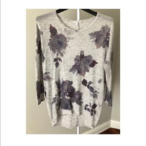 Gray sweater with purple flowers
